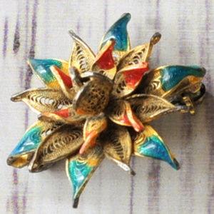 antique flower brooch pin small gold filigree